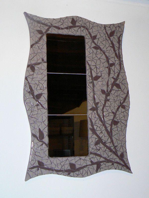 Miroir mur v g tal gris et prune - Mur prune et gris ...